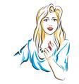 woman puts lipsticks on her lips vector image