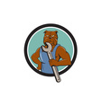 Bulldog Mechanic Holding Wrench Circle Cartoon vector image vector image