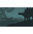 Single stegosaurus silhouette in hills vector image