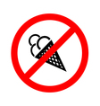 No ice cream food and eating prohibited symbol vector image