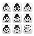 faces grandma buttons set vector image