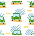 Green car seamless pattern vector image