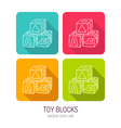 line art toy blocks for kids icon set in four vector image