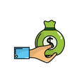 man hand with bag with cash money vector image