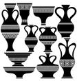 Set of Greek Amphora Silhouettes vector image