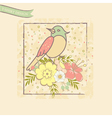 t shirt design with bird and flowrs vector image