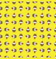 yellow background cupcake seamless pattern vector image