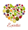 Heart of exotic fruits poster for food design vector image