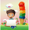 A boy holding an empty banner vector image vector image