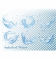 splash of water on transparent background set vector image vector image