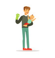 father and his adorable baby having fun with vector image