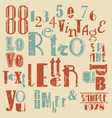 various retro letters and numbers vector image