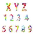Bright creative cartoon comic alphabet vector image