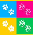 animal tracks sign four styles of icon on four vector image