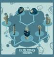 building color concept isometric icons vector image