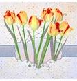 Vintage tulips card with polka dot EPS 10 vector image