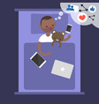 young black blogger dreaming about success in vector image