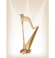 A Beautiful Harp on Brown Stage Background vector image