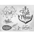 Set collection of seafood charcoal on board vector image vector image