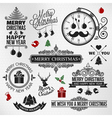 Christmas happy new year vintage labels set vector image