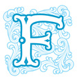 winter vintage letter F vector image vector image