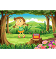 A cute girl dancing in the middle of the woods vector image vector image