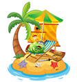A monster at the beach vector image vector image