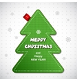Red knitted Christmas pine tree label vector image vector image