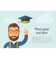 Man pointing the graduation cap icon vector image