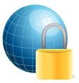 blue globe and golden padlock vector image