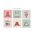 christmas card set with winter animals vector image