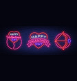 valentine s day is a collection of neon signs vector image