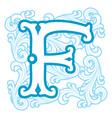 winter vintage letter F vector image