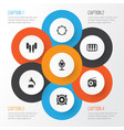 music icons set collection of earmuff mike vector image