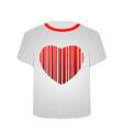 T Shirt Template- Heart bar code vector image