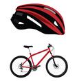 Bicycle helmet and bicycle vector image