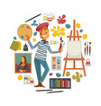 creative poster with artist and tools to paint in vector image