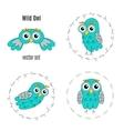 Set owl birds isolated on white background vector image