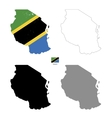 Tanzania country black silhouette and with flag on vector image