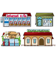 Various shops and a train station vector image