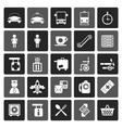Flat Airport travel and transportation icons vector image