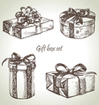 Set of gift boxes hand drawn vector image