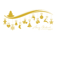 Gold Christmas wave border with hanging vector image vector image