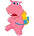 cute hippo going to school vector image