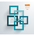 3D Square geometric element on blue paper frames vector image