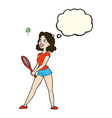 cartoon woman playing tennis with thought bubble vector image