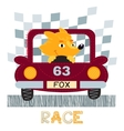 Fox with car t-shirt design vector image