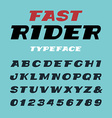 Wide italic font alphabet with latin letters and vector image