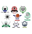 Sports emblems and logo with heraldry design vector image