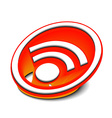 3d glossy rss icon vector image